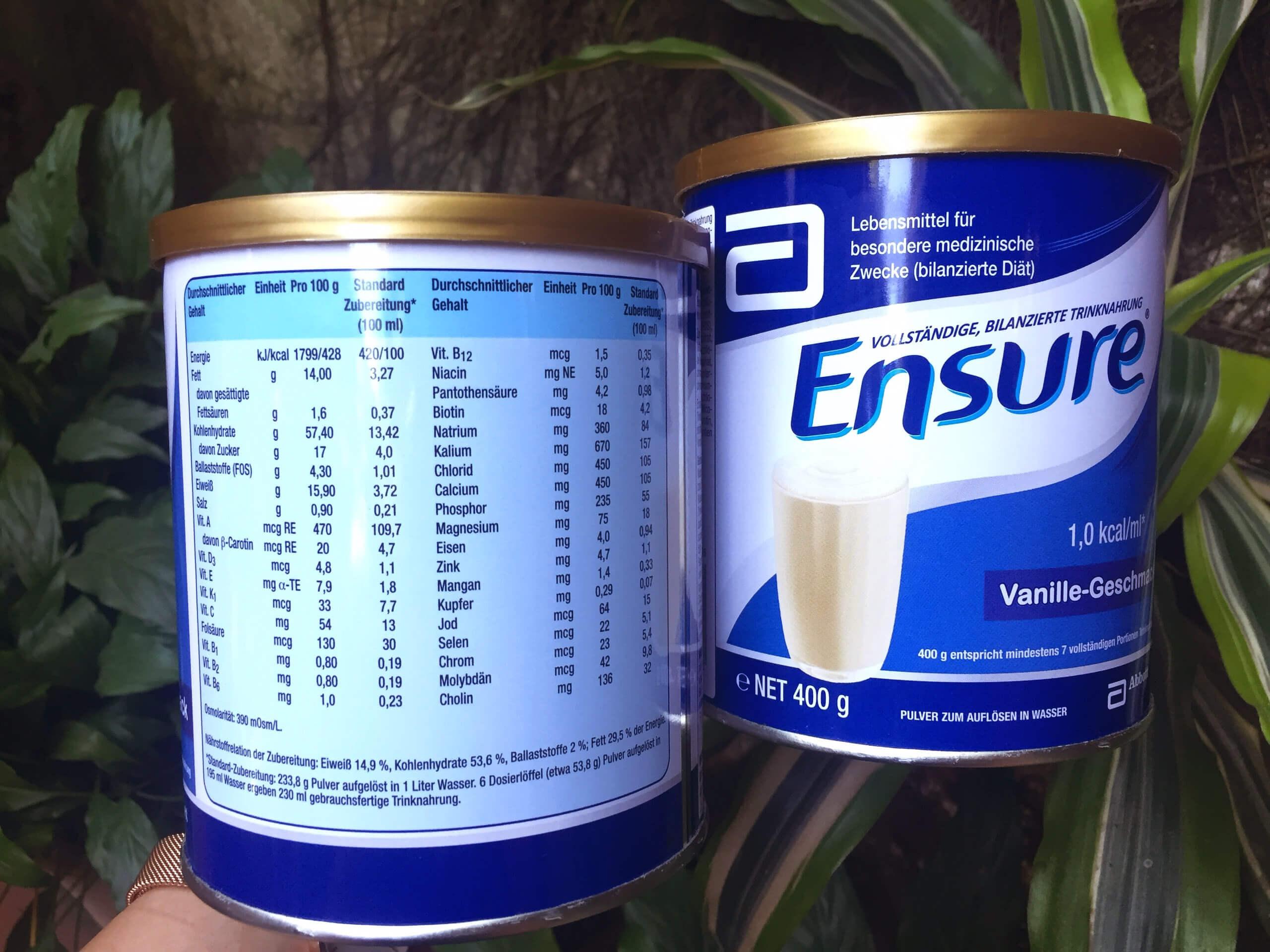 Thành phần sữa Ensure cho người già